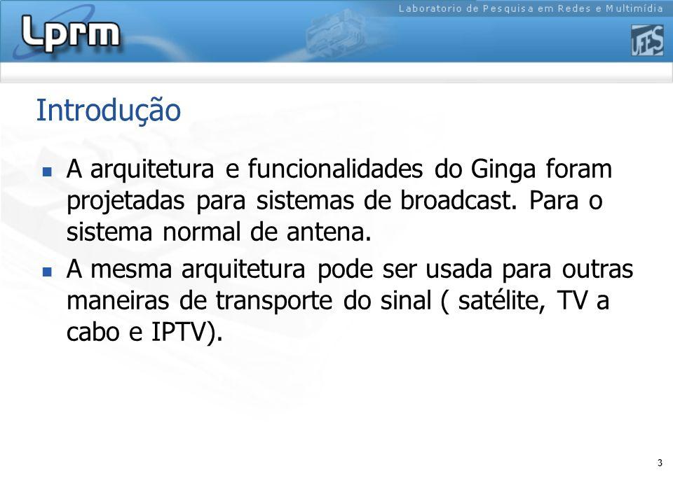 3 Introdução A arquitetura e funcionalidades do Ginga foram projetadas para sistemas de broadcast. Para o sistema normal de antena. A mesma arquitetur