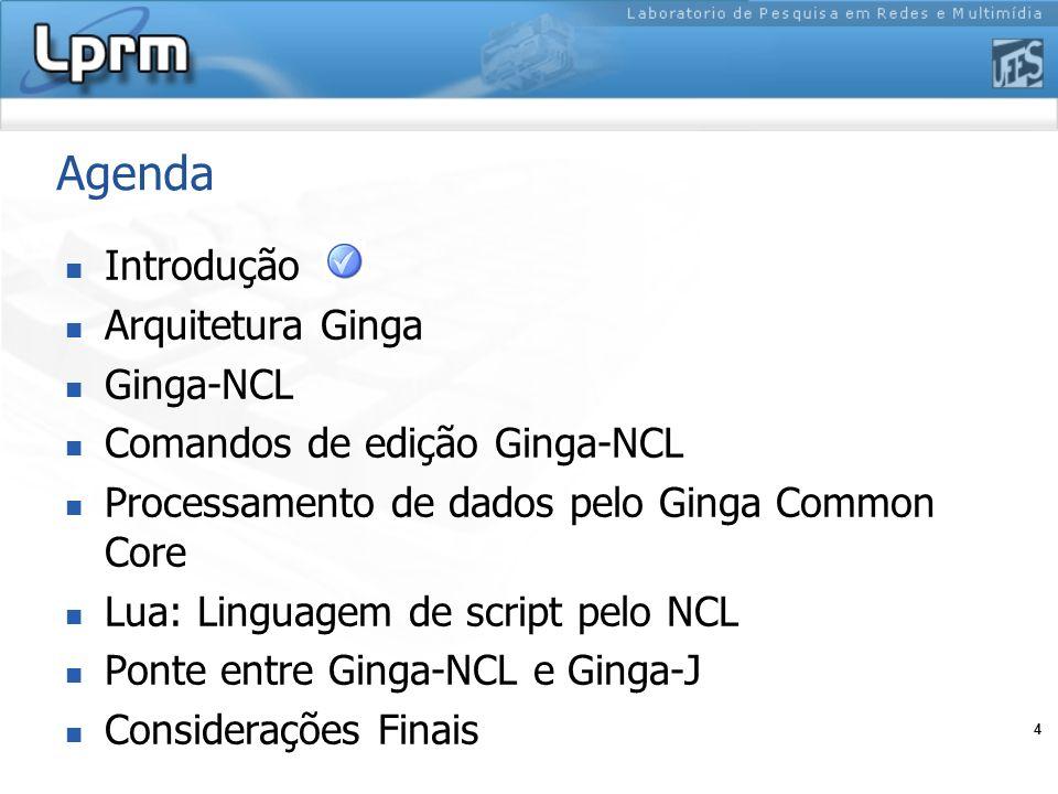 4 Agenda Introdução Arquitetura Ginga Ginga-NCL Comandos de edição Ginga-NCL Processamento de dados pelo Ginga Common Core Lua: Linguagem de script pe