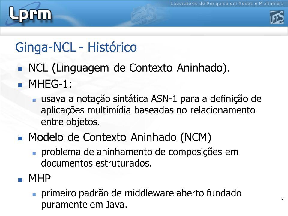 8 Ginga-NCL - Histórico NCL (Linguagem de Contexto Aninhado). MHEG-1: usava a notação sintática ASN-1 para a definição de aplicações multimídia basead