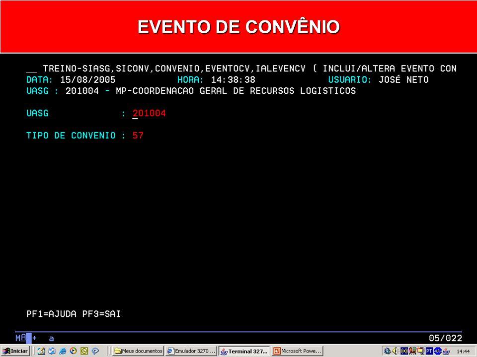 IALEVENCV - INCLUI/ALTERA EVENTO CONVÊNIO