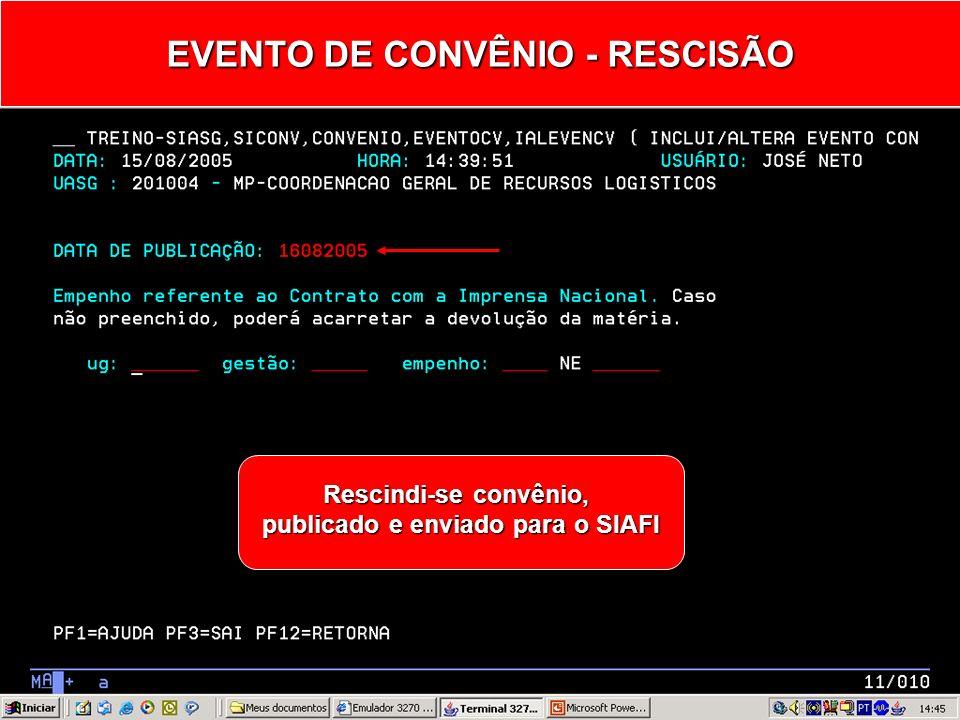 EVENTO DE CONVÊNIO - RESCISÃO 20 - RESCISÃO
