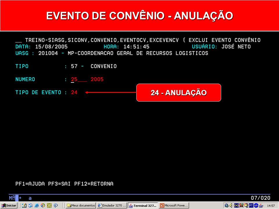 Informar: Tipo de Evento Tipo de Evento EVENTO DE CONVÊNIO