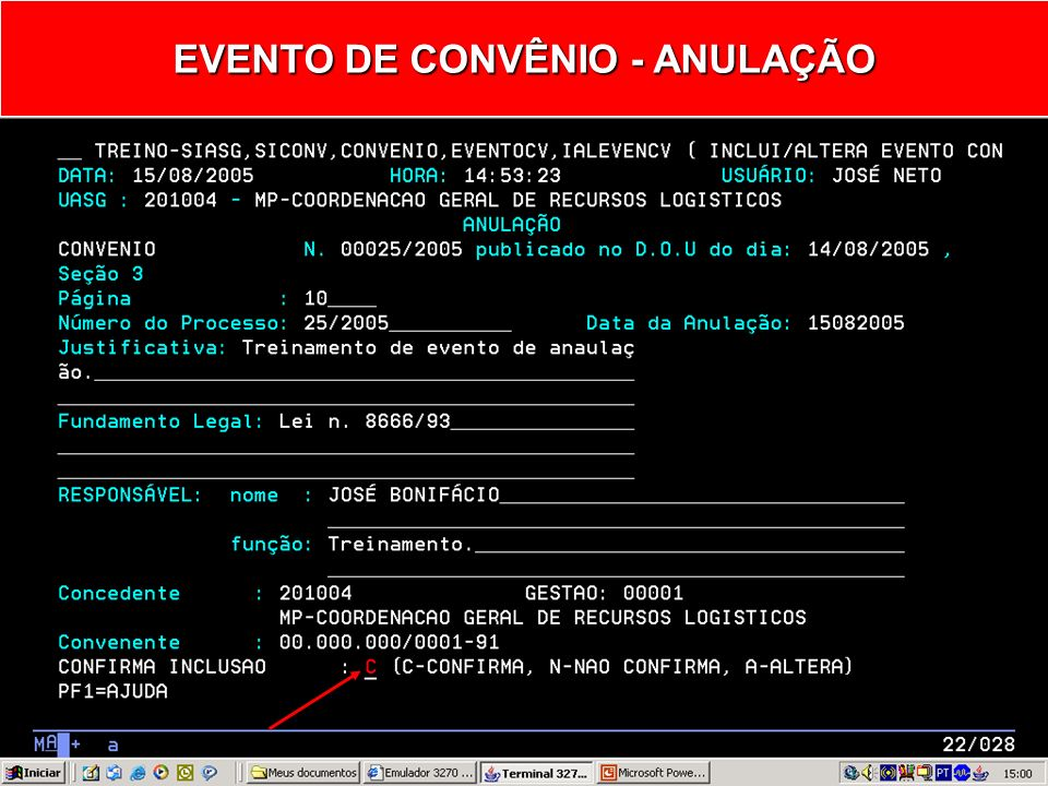 EVENTO DE CONVÊNIO - ANULAÇÃO