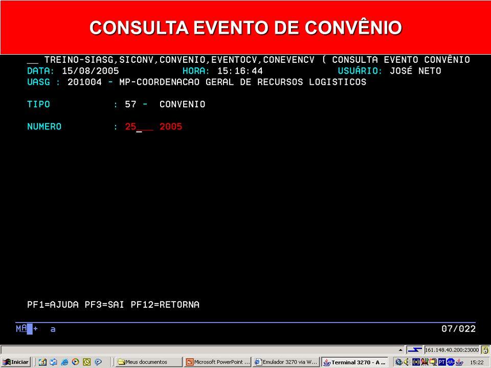 CONSULTA EVENTO DE CONVÊNIO