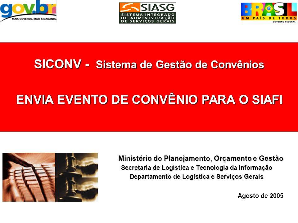 SIMULA PUBLICAÇÃO DO EVENTO DE CONVÊNIO Consultar o Evento do Convênio