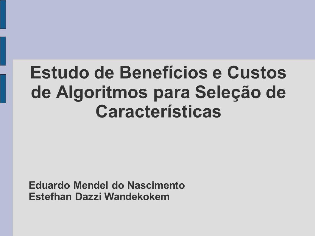 Estudo de Benefícios e Custos de Algoritmos para Seleção de Características Eduardo Mendel do Nascimento Estefhan Dazzi Wandekokem