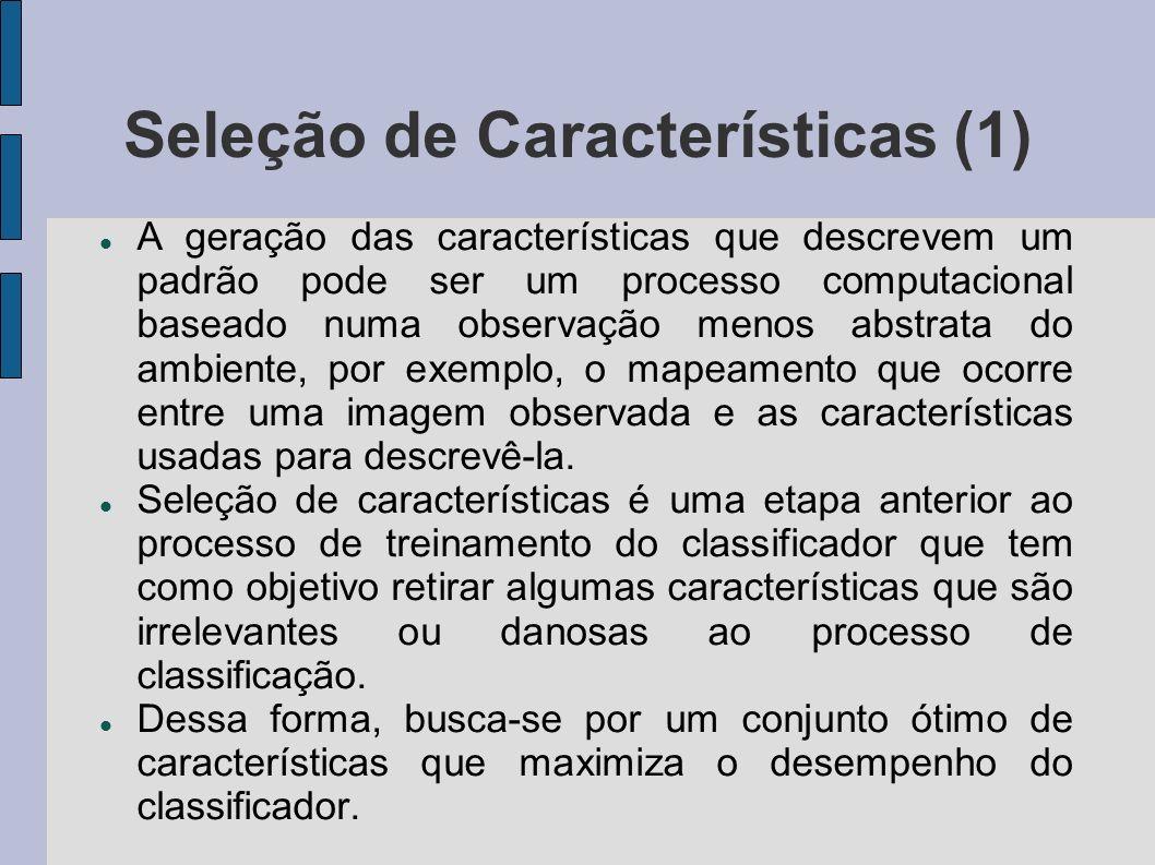 Seleção de Características (1) A geração das características que descrevem um padrão pode ser um processo computacional baseado numa observação menos