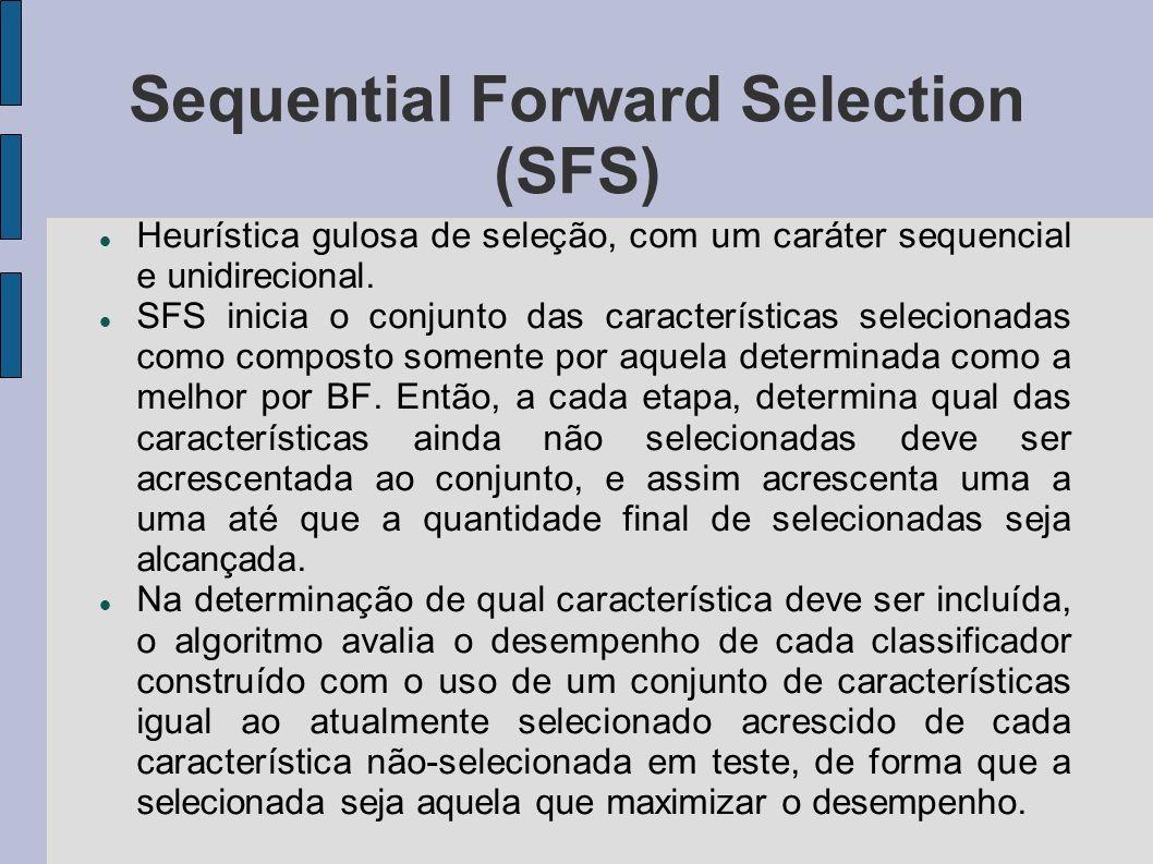 Sequential Forward Selection (SFS) Heurística gulosa de seleção, com um caráter sequencial e unidirecional. SFS inicia o conjunto das características