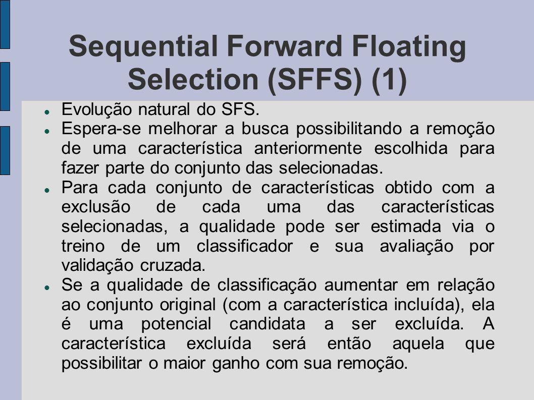 Sequential Forward Floating Selection (SFFS) (1) Evolução natural do SFS. Espera-se melhorar a busca possibilitando a remoção de uma característica an