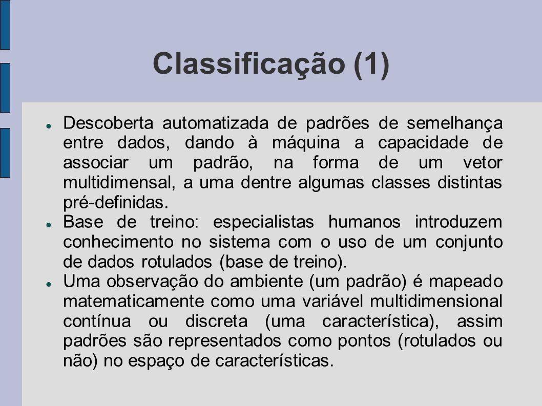 Classificação (2) À medida os padrões rotulados são introduzidos, regiões distintas do espaço de características passam a se associar mais fortemente a uma classe do que a outra.