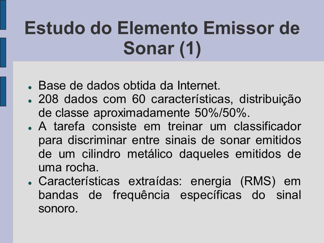 Estudo do Elemento Emissor de Sonar (1) Base de dados obtida da Internet. 208 dados com 60 características, distribuição de classe aproximadamente 50%
