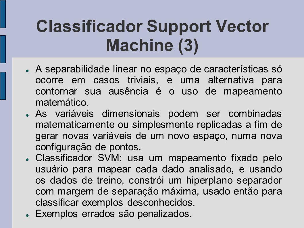 Classificador Support Vector Machine (3) A separabilidade linear no espaço de características só ocorre em casos triviais, e uma alternativa para cont