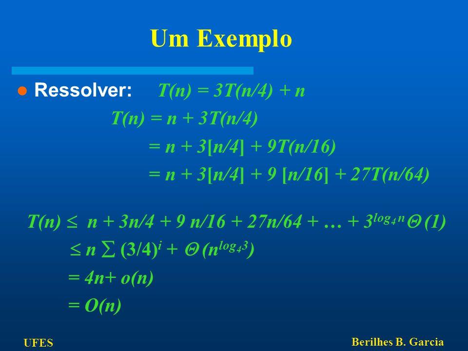 UFES Berilhes B. Garcia Um Exemplo Ressolver: T(n) = 3T(n/4) + n T(n) = n + 3T(n/4) = n + 3[n/4] + 9T(n/16) = n + 3[n/4] + 9 [n/16] + 27T(n/64) T(n) n