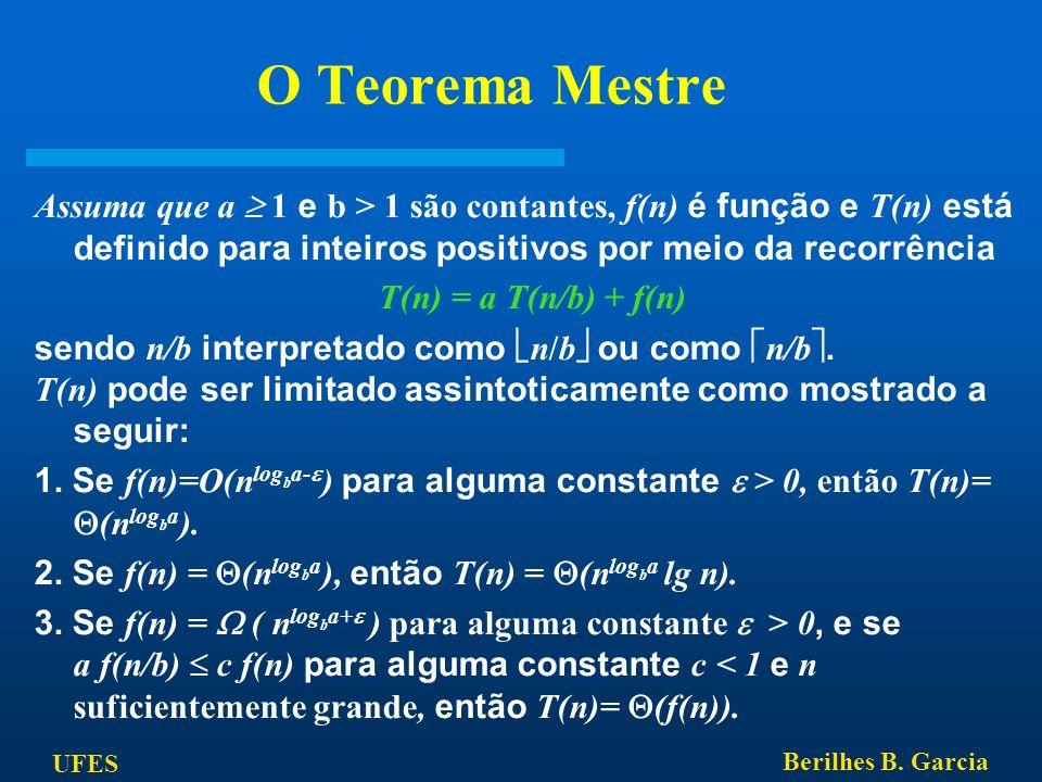 UFES Berilhes B. Garcia O Teorema Mestre Assuma que a 1 e b > 1 são contantes, f(n) é função e T(n) está definido para inteiros positivos por meio da