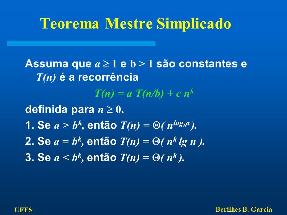 UFES Berilhes B. Garcia Teorema Mestre Simplicado Assuma que a 1 e b > 1 são constantes e T(n) é a recorrência T(n) = a T(n/b) + c n k definida para n