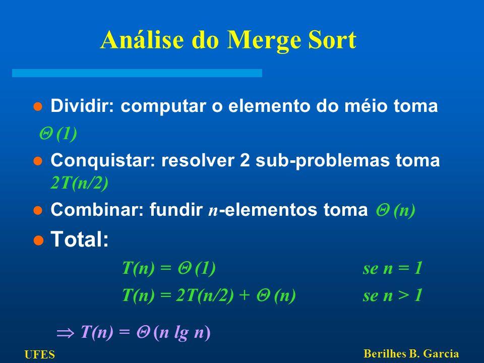 UFES Berilhes B. Garcia Análise do Merge Sort Dividir: computar o elemento do méio toma (1) Conquistar: resolver 2 sub-problemas toma 2T(n/2) Combinar