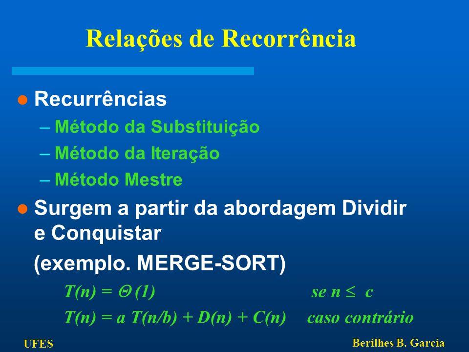 UFES Berilhes B. Garcia Relações de Recorrência Recurrências –Método da Substituição –Método da Iteração –Método Mestre Surgem a partir da abordagem D