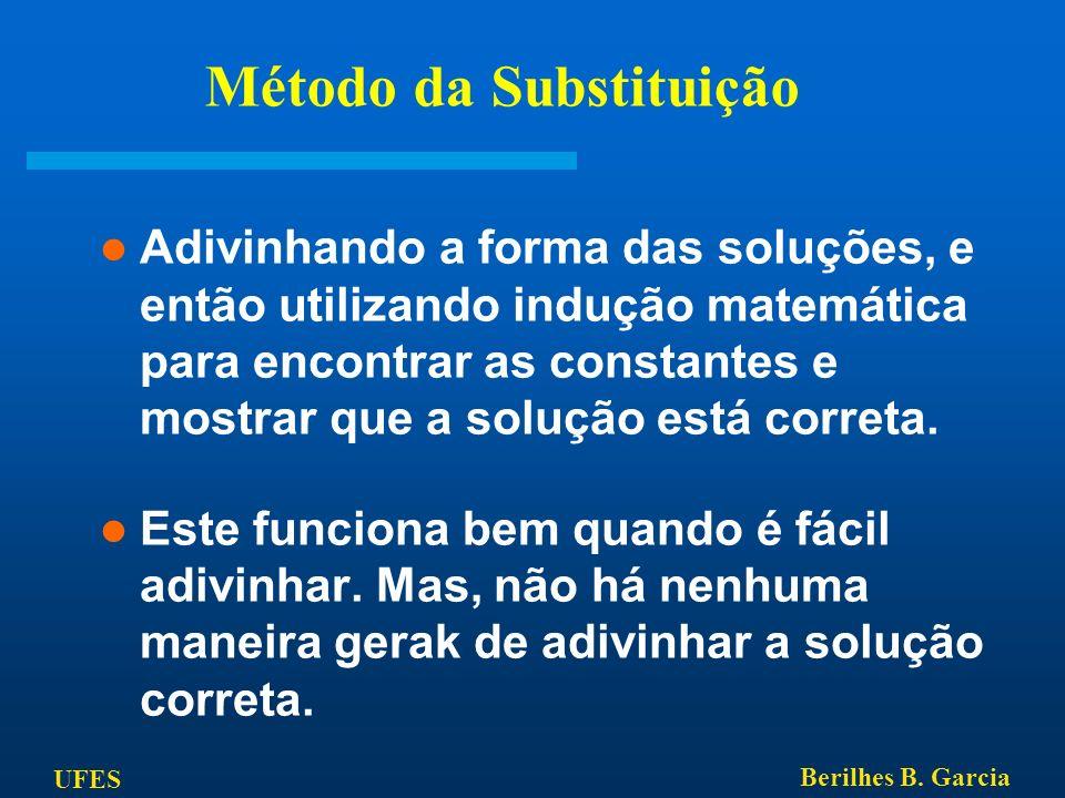 UFES Berilhes B. Garcia Método da Substituição Adivinhando a forma das soluções, e então utilizando indução matemática para encontrar as constantes e