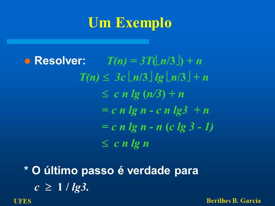 UFES Berilhes B. Garcia Um Exemplo Resolver: T(n) = 3T( n/3 ) + n T(n) 3c n/3 lg n/3 + n c n lg (n/3) + n = c n lg n - c n lg3 + n = c n lg n - n (c l