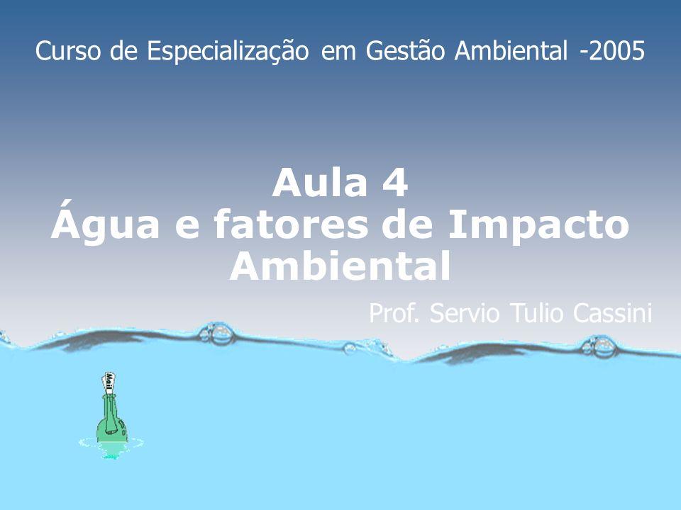 Aula 4 Água e fatores de Impacto Ambiental Curso de Especialização em Gestão Ambiental -2005 Prof.