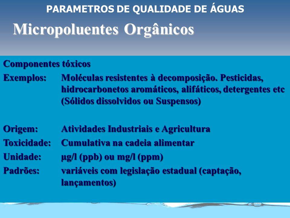 PARAMETROS DE QUALIDADE DE ÁGUAS Micropoluentes inorgânicos Componentes tóxicos Exemplos: Metais Pesados: Arsênio, Cádmio, Cromo, Chumbo, Mercúrio e P