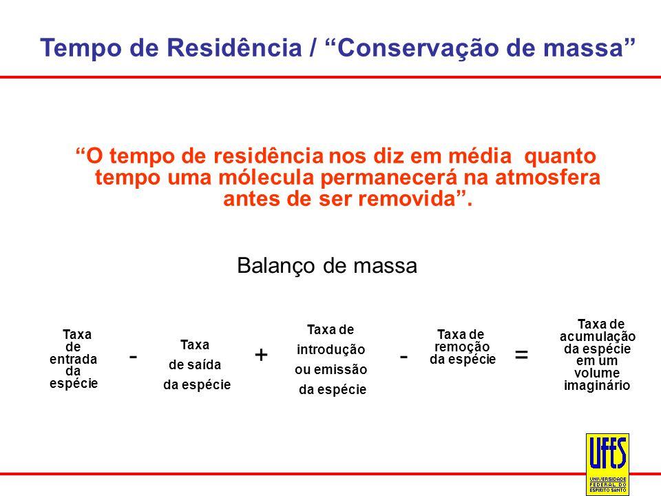 Tempo de Residência / Conservação de massa O tempo de residência nos diz em média quanto tempo uma mólecula permanecerá na atmosfera antes de ser remo