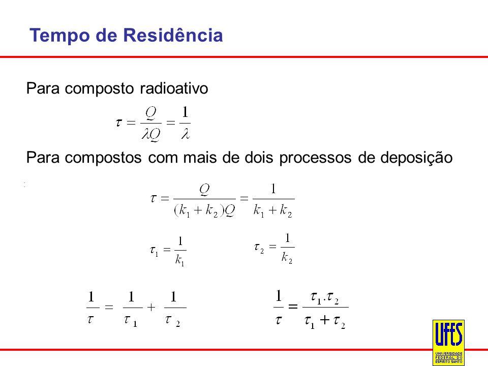 Tempo de Residência Para composto radioativo Para compostos com mais de dois processos de deposição :