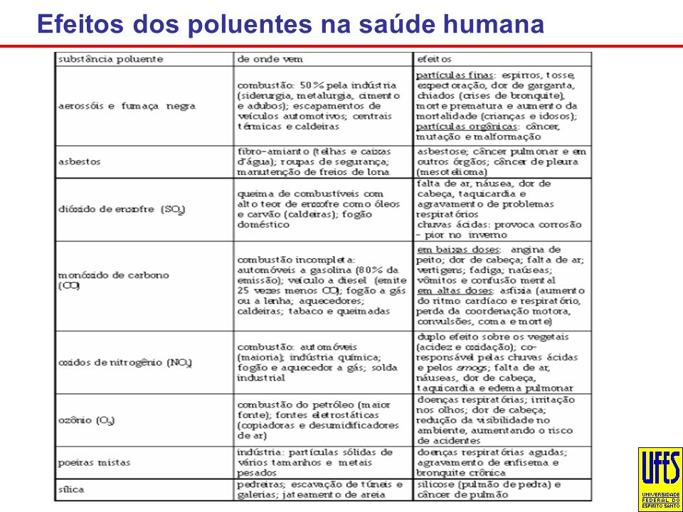 Efeitos dos poluentes na saúde humana