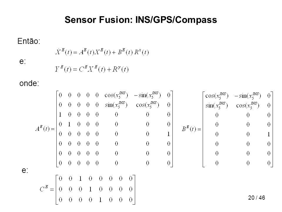 20 / 46 Sensor Fusion: INS/GPS/Compass Então: e: onde: e: