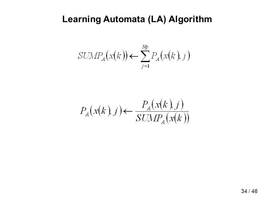 34 / 46 Learning Automata (LA) Algorithm