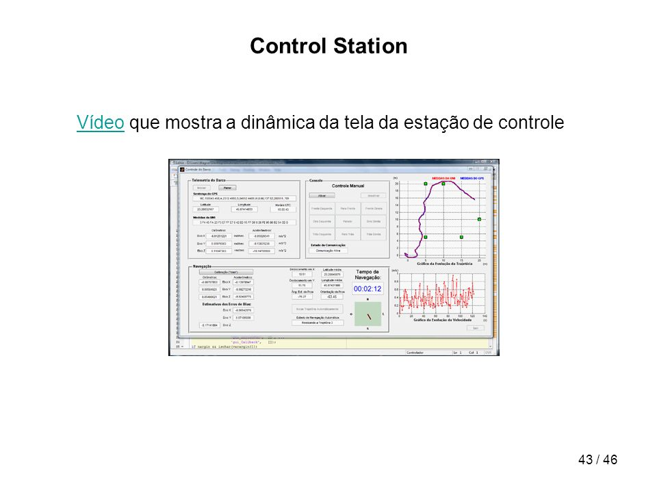 43 / 46 Control Station VídeoVídeo que mostra a dinâmica da tela da estação de controle
