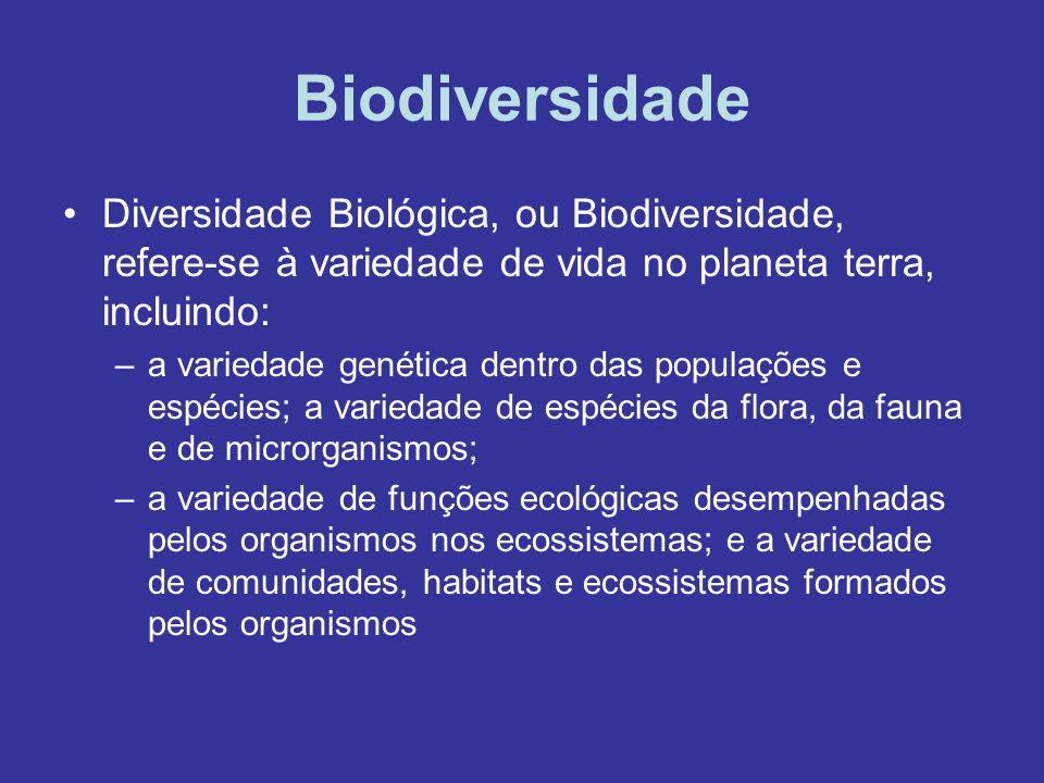 Biodiversidade Diversidade Biológica, ou Biodiversidade, refere-se à variedade de vida no planeta terra, incluindo: –a variedade genética dentro das p