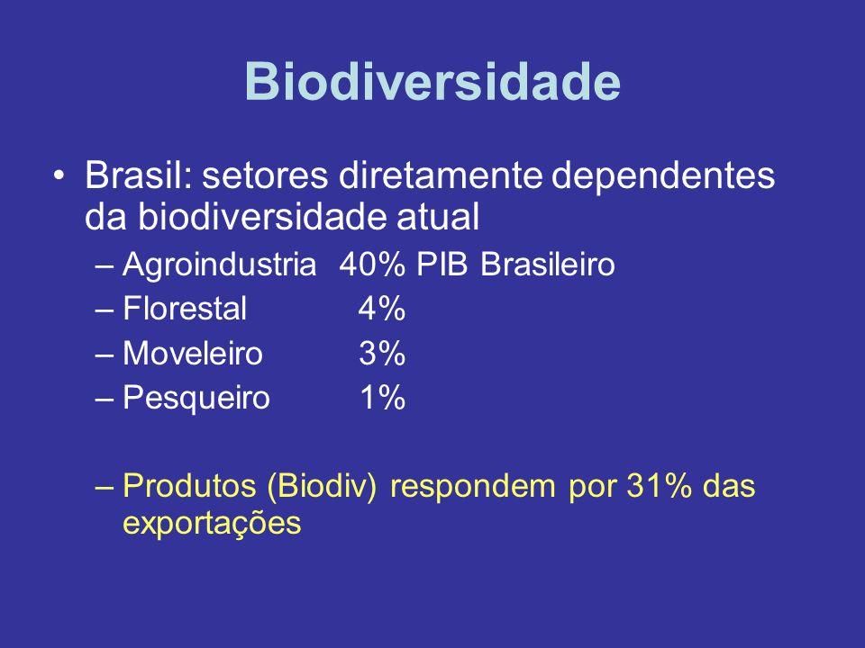 Biodiversidade Brasil: setores diretamente dependentes da biodiversidade atual –Agroindustria 40% PIB Brasileiro –Florestal 4% –Moveleiro 3% –Pesqueir
