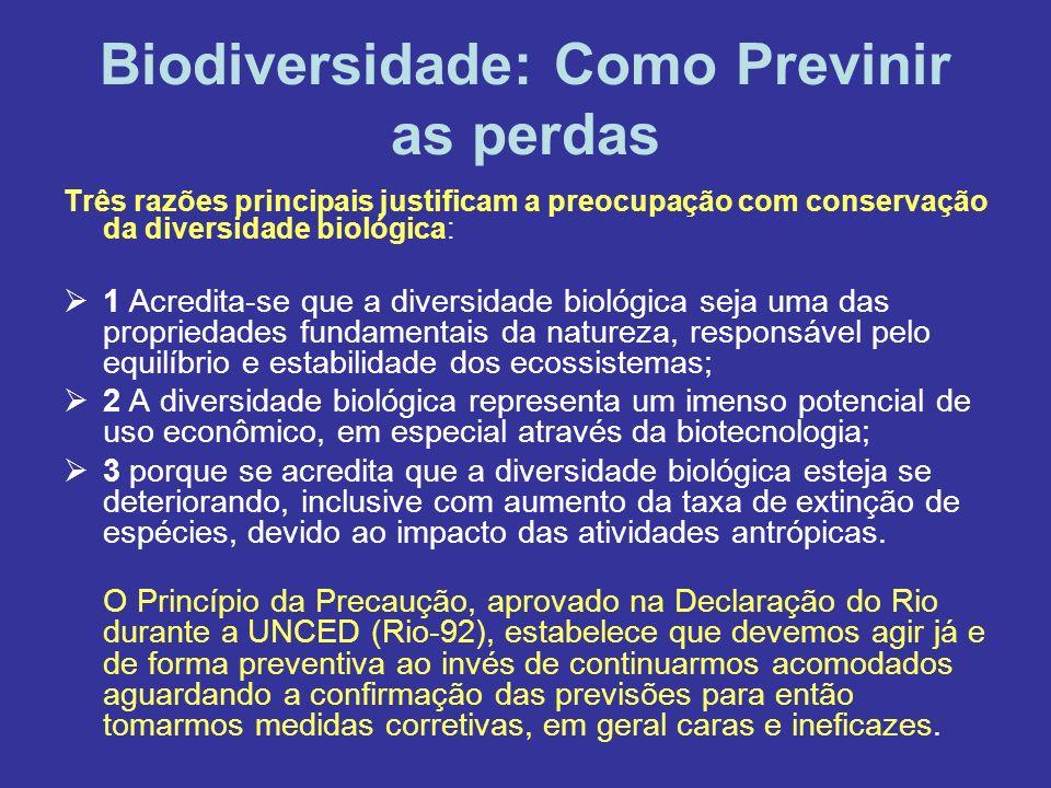 Biodiversidade: Como Previnir as perdas Três razões principais justificam a preocupação com conservação da diversidade biológica: 1 Acredita-se que a