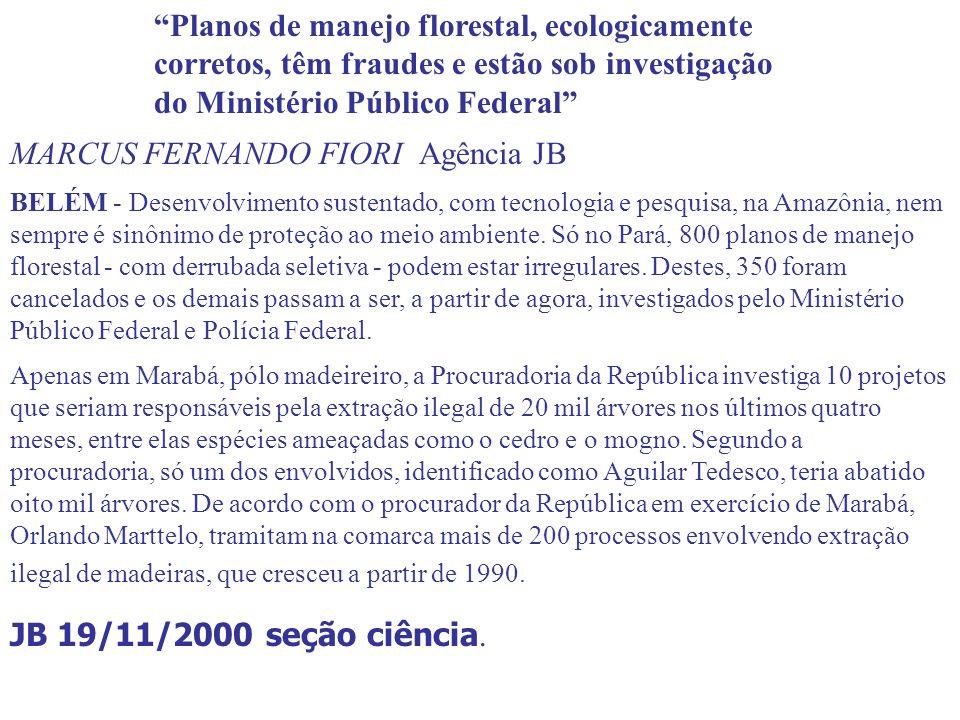 Planos de manejo florestal, ecologicamente corretos, têm fraudes e estão sob investigação do Ministério Público Federal MARCUS FERNANDO FIORI Agência