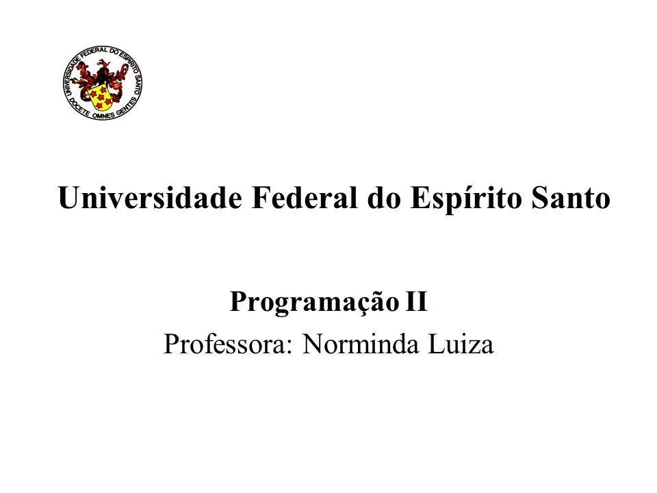Universidade Federal do Espírito Santo Programação II Professora: Norminda Luiza
