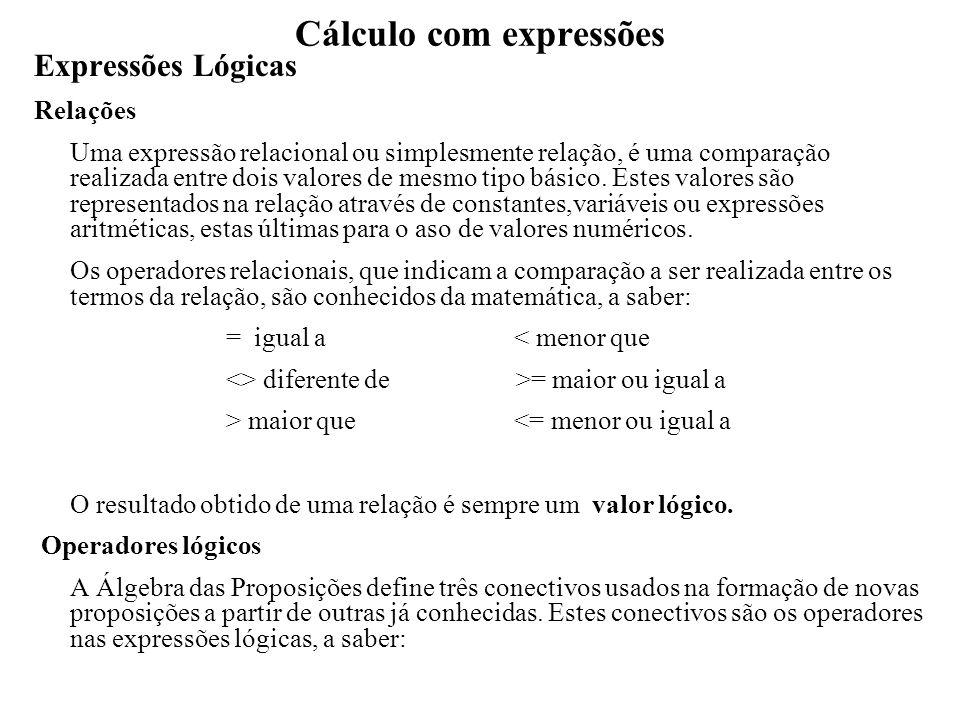 Cálculo com expressões Expressões Lógicas Operadores lógicos e - para a conjunção ou -para a disjunção não -para a negação Neste contexto considera-se uma proposição como sendo uma variável lógica, uma relação ou uma expressão lógica composta.