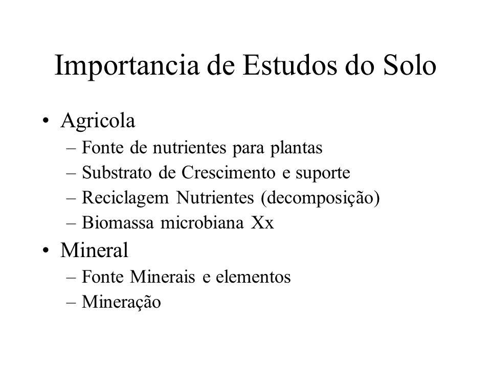 Importancia de Estudos do Solo Agricola –Fonte de nutrientes para plantas –Substrato de Crescimento e suporte –Reciclagem Nutrientes (decomposição) –B