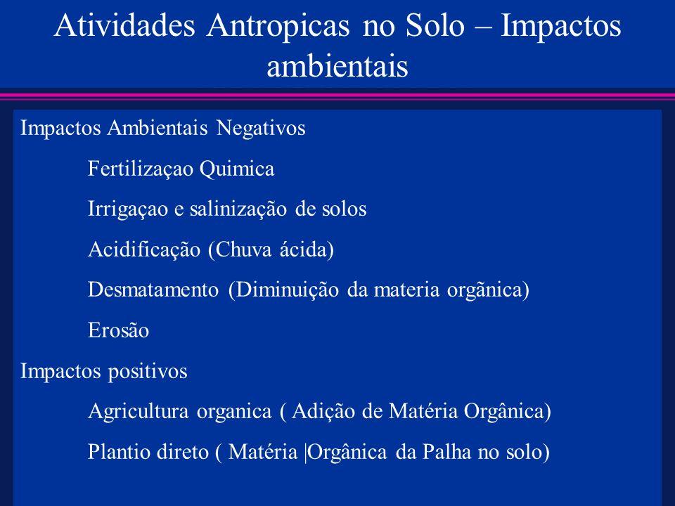 Atividades Antropicas no Solo – Impactos ambientais Impactos Ambientais Negativos Fertilizaçao Quimica Irrigaçao e salinização de solos Acidificação (