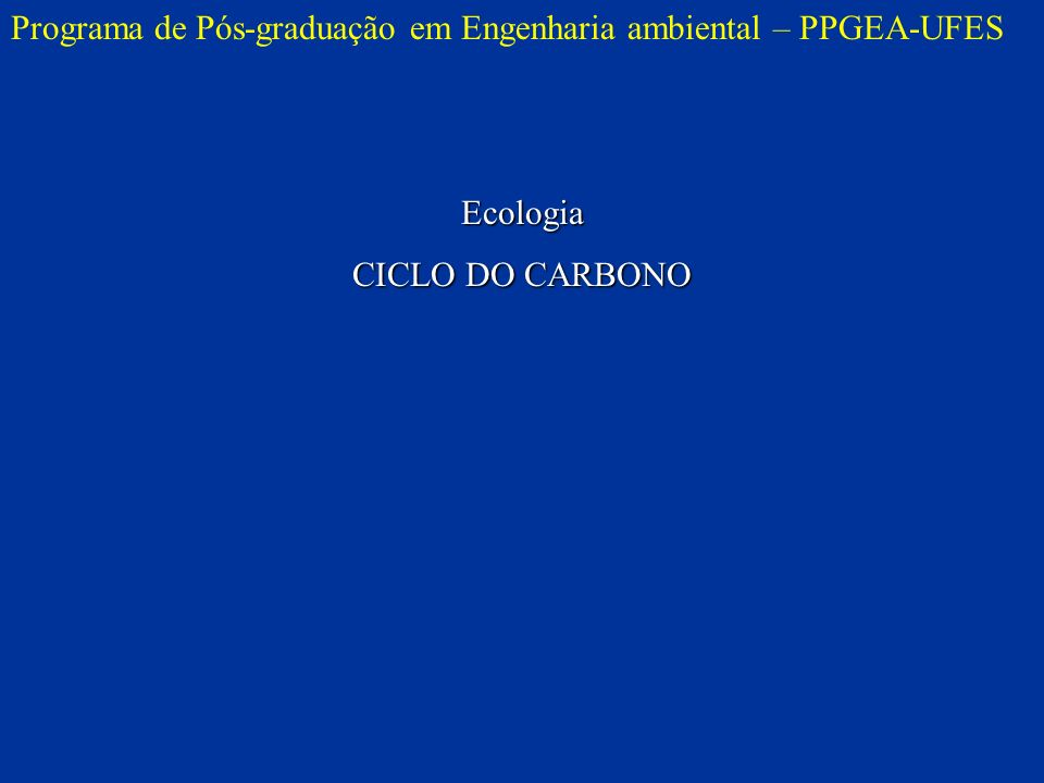 Programa de Pós-graduação em Engenharia ambiental – PPGEA-UFESEcologia CICLO DO CARBONO