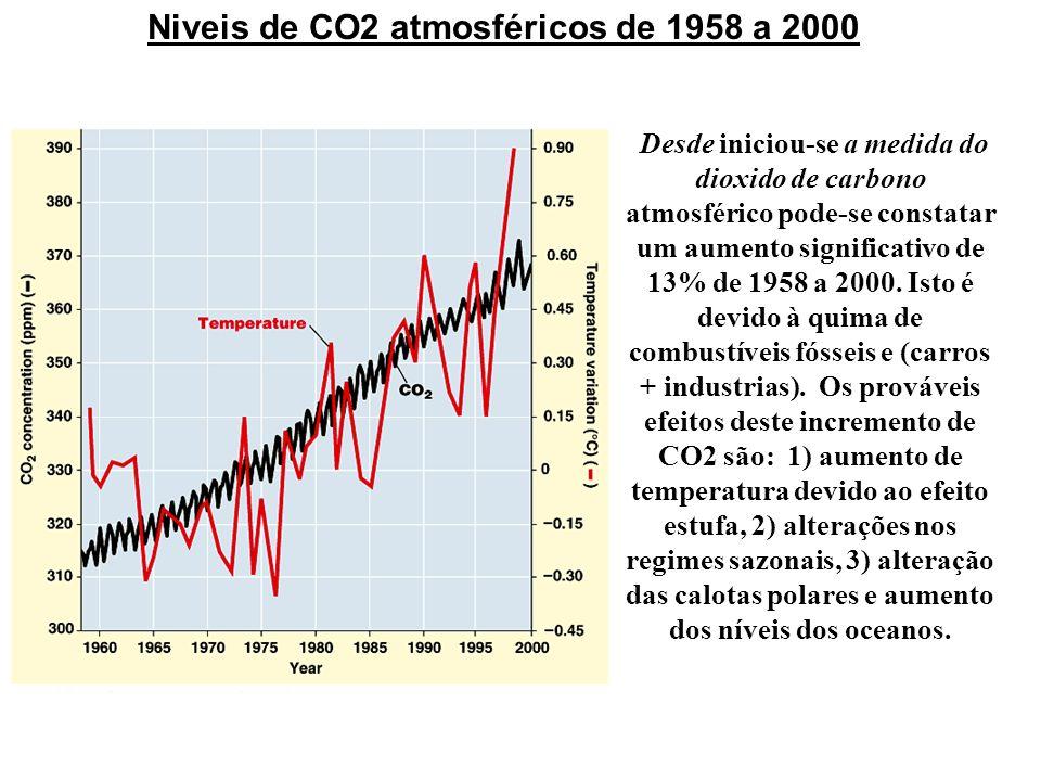 Niveis de CO2 atmosféricos de 1958 a 2000 Desde iniciou-se a medida do dioxido de carbono atmosférico pode-se constatar um aumento significativo de 13
