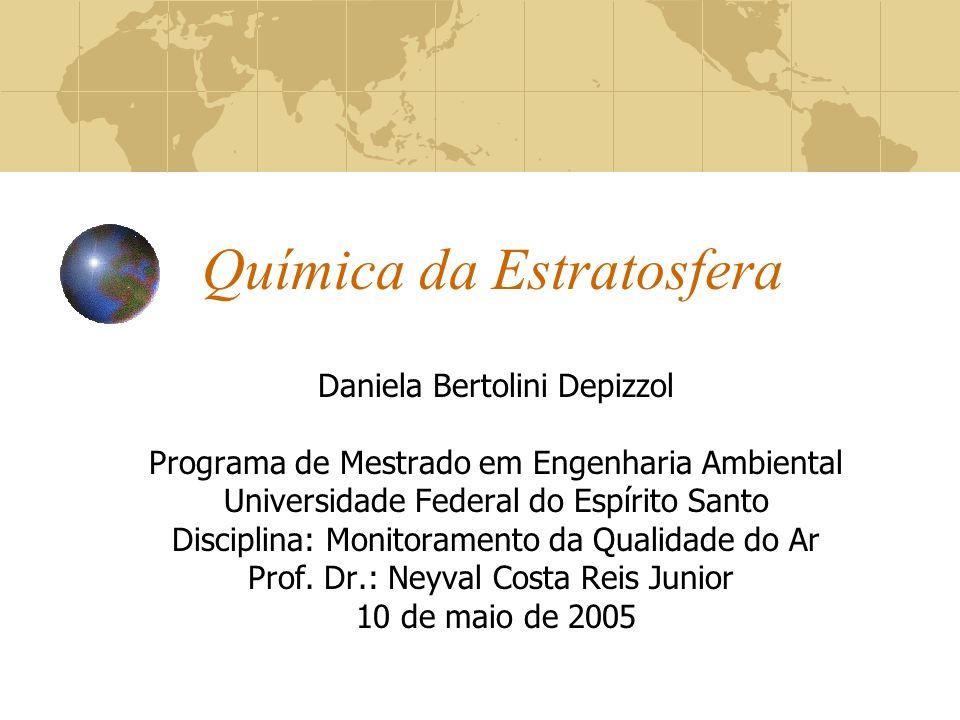 Química da Estratosfera Daniela Bertolini Depizzol Programa de Mestrado em Engenharia Ambiental Universidade Federal do Espírito Santo Disciplina: Mon