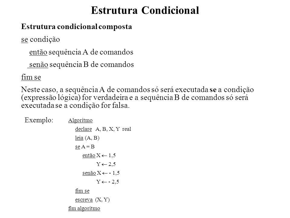 Estrutura Condicional Estrutura condicional composta se condição então sequência A de comandos senão sequência B de comandos fim se Neste caso, a sequ
