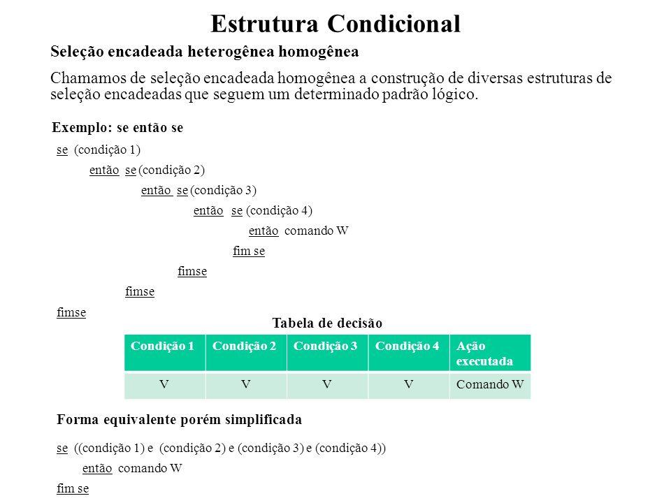 Estrutura Condicional Não se trata de uma seleção encadeada se (x = v1) então C1 fim se se (x = v2) então C2 fim se se (x = v3) então C3 fim se se (x = v4) então C4 fim se Exemplo: se senão se x = v1x = v2x = v3x = v4 Ação executada VFFFC1 FVFFC2 FFVFC3 FFFVC4 Tabela de decisão