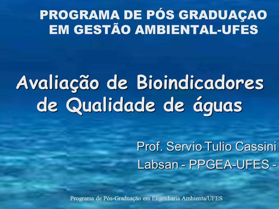 PROGRAMA DE PÓS GRADUAÇAO EM GESTÃO AMBIENTAL-UFES Avaliação de Bioindicadores de Qualidade de águas Prof.