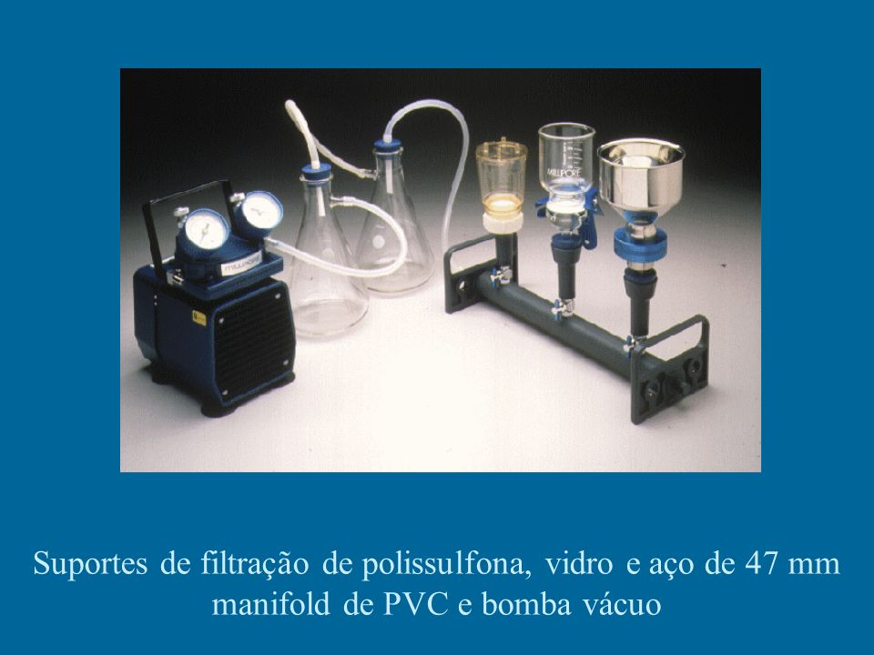 Suportes de filtração de polissulfona, vidro e aço de 47 mm manifold de PVC e bomba vácuo