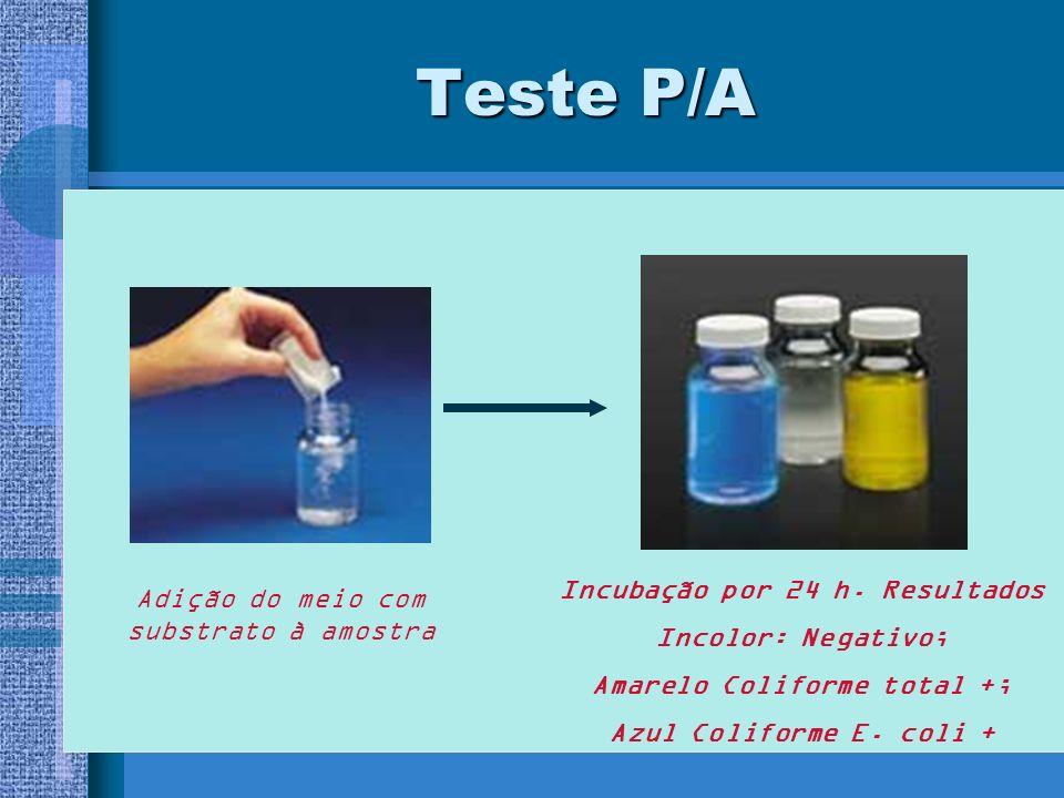 Teste P/A Adição do meio com substrato à amostra Incubação por 24 h.