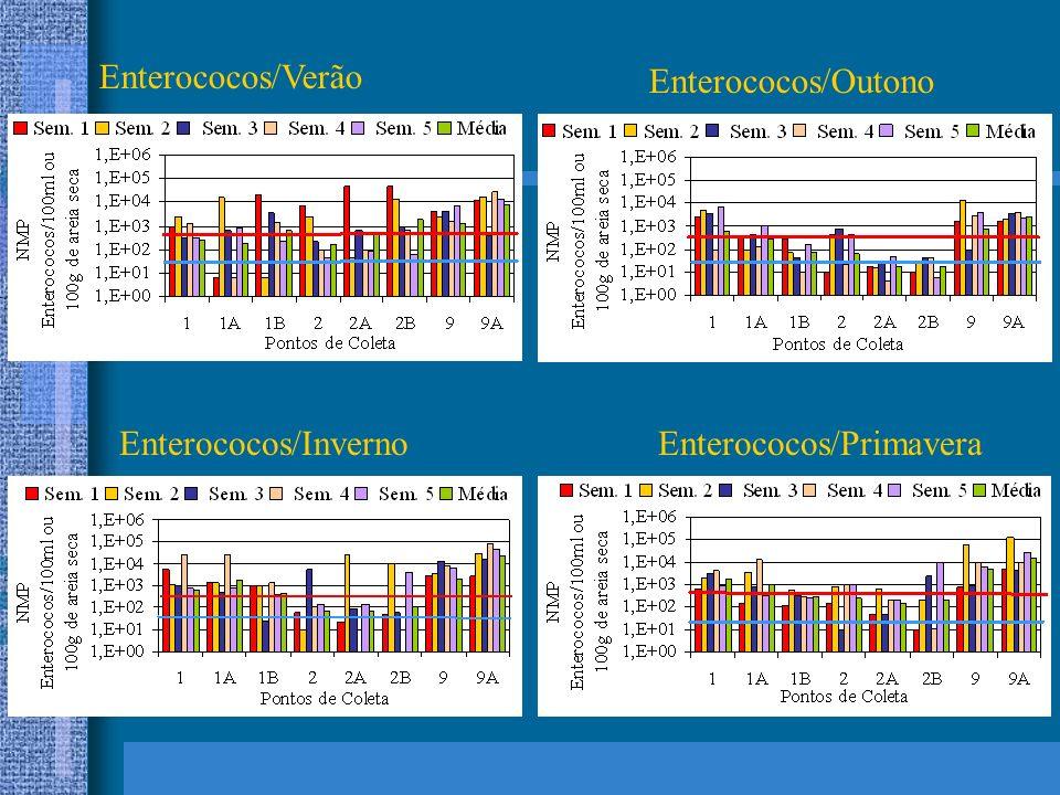 Enterococos/Verão Enterococos/Outono Enterococos/InvernoEnterococos/Primavera
