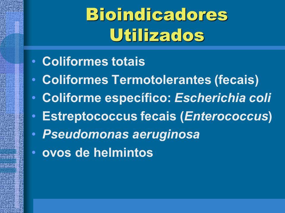 Bioindicadores Utilizados Coliformes totais Coliformes Termotolerantes (fecais) Coliforme específico: Escherichia coli Estreptococcus fecais (Enterococcus) Pseudomonas aeruginosa ovos de helmintos