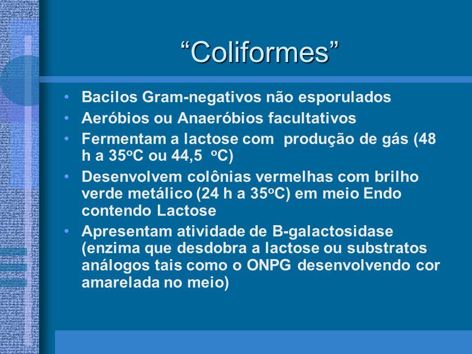 Coliformes Bacilos Gram-negativos não esporulados Aeróbios ou Anaeróbios facultativos Fermentam a lactose com produção de gás (48 h a 35 o C ou 44,5 o C) Desenvolvem colônias vermelhas com brilho verde metálico (24 h a 35 o C) em meio Endo contendo Lactose Apresentam atividade de B-galactosidase (enzima que desdobra a lactose ou substratos análogos tais como o ONPG desenvolvendo cor amarelada no meio)